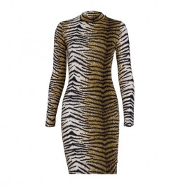 Leopard print lady dress.