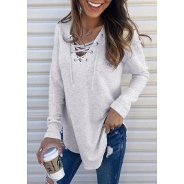 Solid Lace Up V-Neck Blouse...