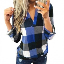 Women Casual Plaid Blouse...